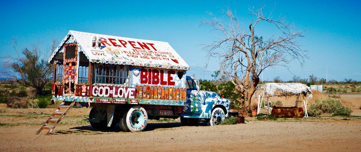 Salvation Mt. Truck by sbaze in Landscape
