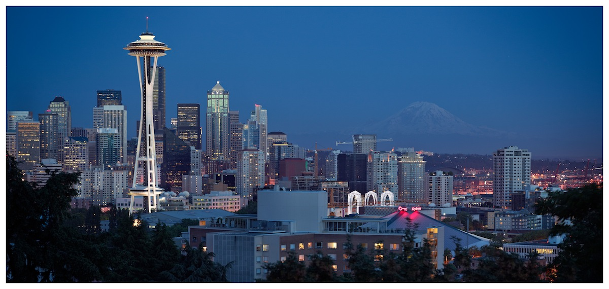 Seattle Space Needle & Rainier Night View by GrahamWelland in Regular Member Gallery
