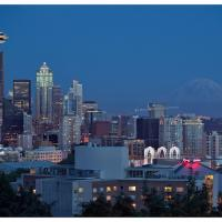 Seattle Space Needle & Rainier Night View by GrahamWelland in Regular Member Gallery