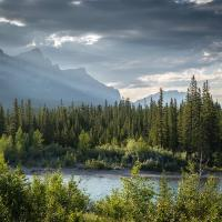 bow river and mt rundle range by Shac