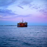 Anchored ship, Galveston Bay at dusk by eleanorbrown in Regular Member Gallery