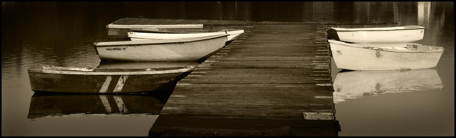 Boats Coveearlylightsepiapano by DonWeston in DonWeston