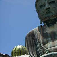 Buddha Contemplating A Melon by Bob