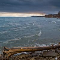 Fuji X10 Lake With Foreground Log Cold by woodmancy