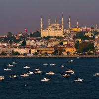 Istanbul Water Front With Boats by woodmancy