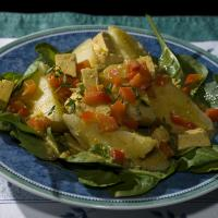 Curry With Tofu, Red Peppers, And Potatoes On Arugula Salad. by engel001 in Regular Member Gallery