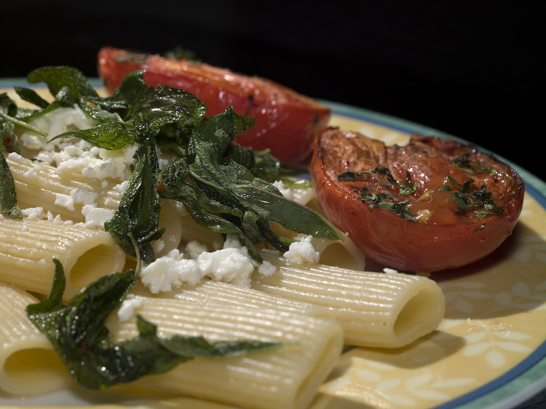 Pasta With Crispy Sage, Feta Cheese, And Grilled Tomatoes. by engel001 in Regular Member Gallery