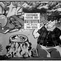 Pete's Tobacco Shop Mural in B&W by bensonga in bensonga