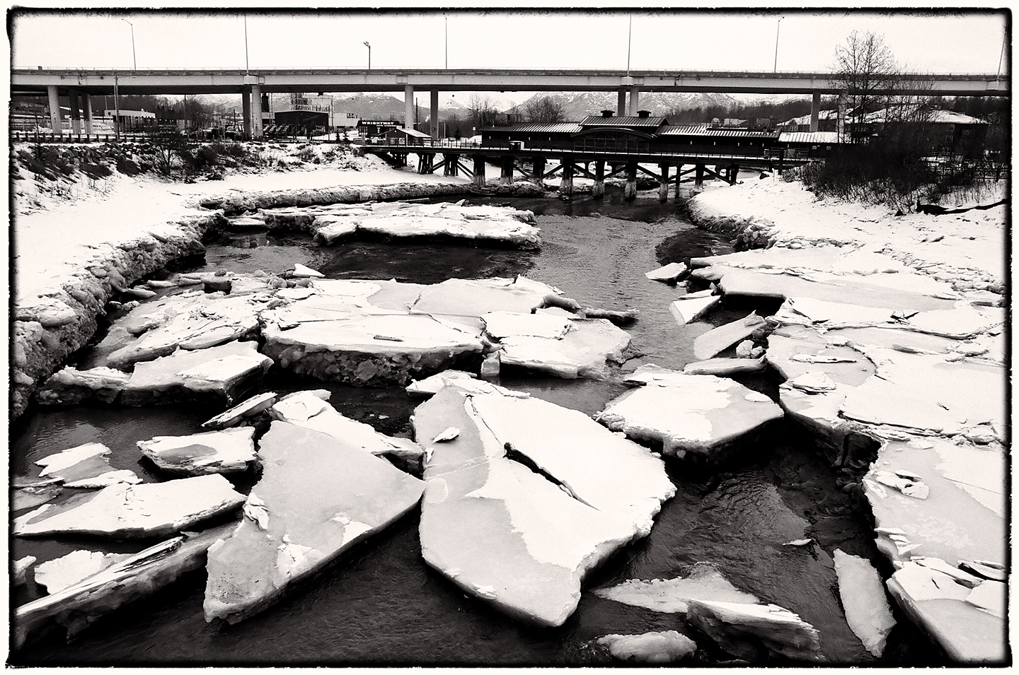 Ship Creek Ice Floes and Bridge by bensonga in bensonga