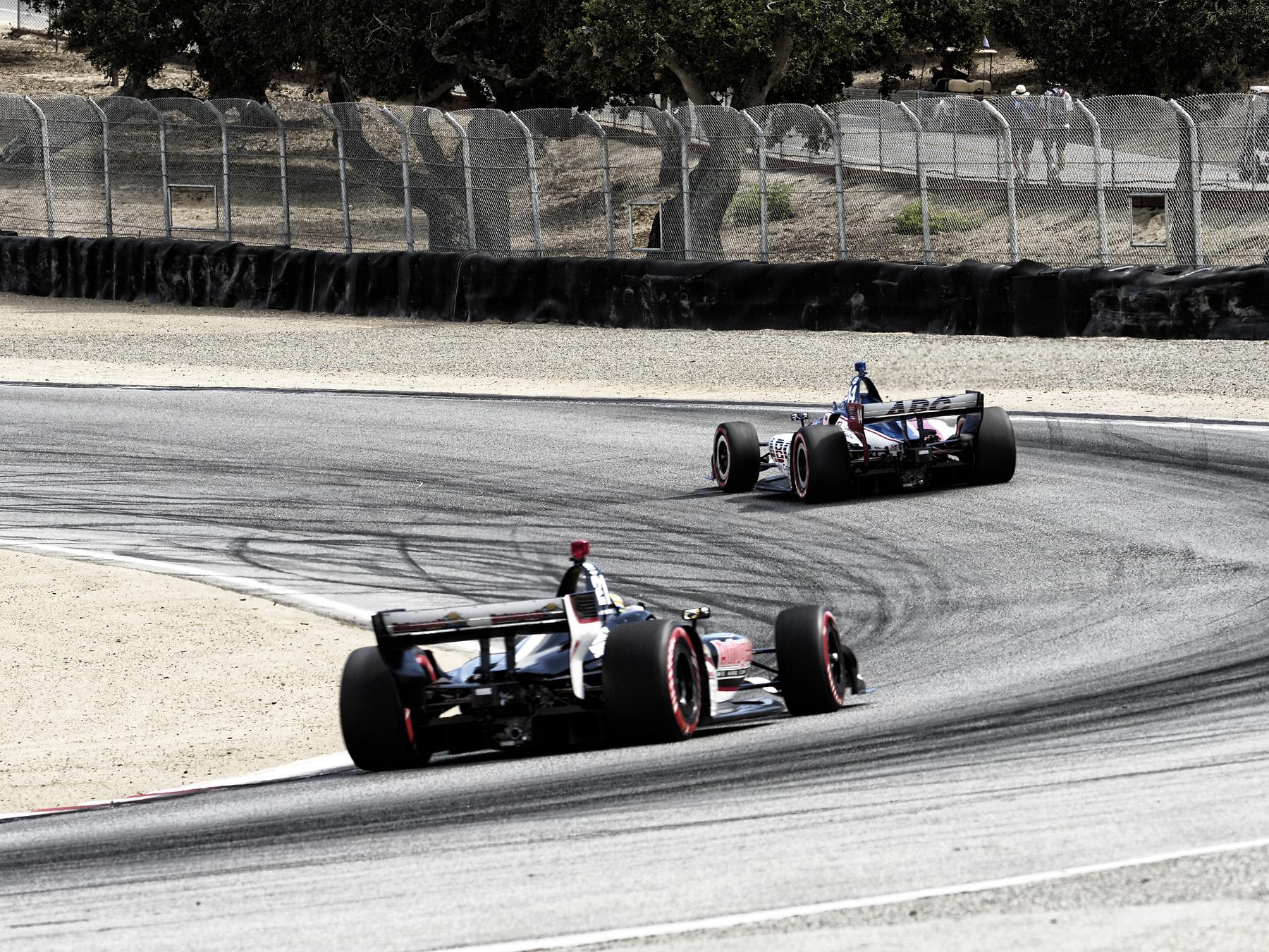 IndyCARs exiting Laguna Seca Turn 5