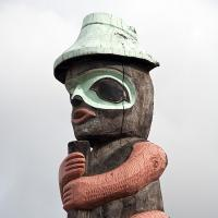 Alaska Rr Station Totem Pole (second) Cloudy Day by bensonga in bensonga