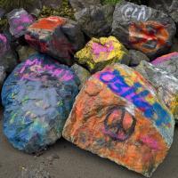 Peace Grafitti On Rocks