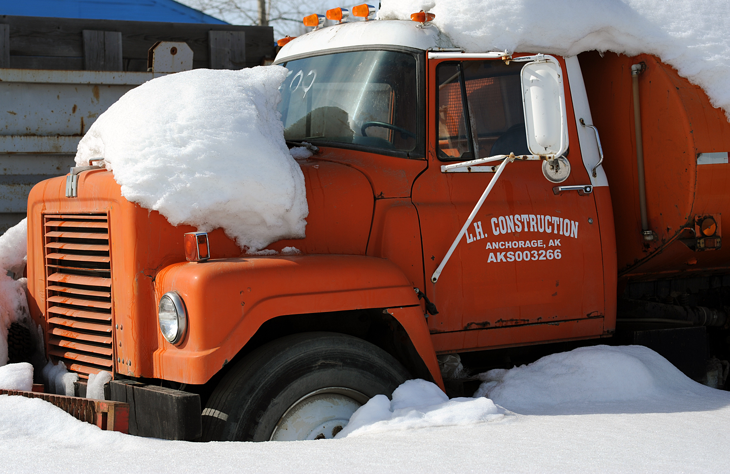 Orange Truck And Snow by bensonga in bensonga