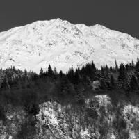 Chugach Mtns Near Girdwood In Winter Bw by bensonga