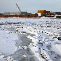 Ice At High Tide On Ship Creek With Lc by bensonga