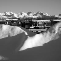 Snow Berms And Mountains by bensonga in bensonga