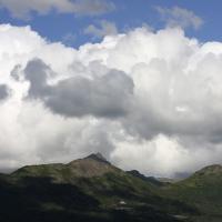 Eagle River, Alaska Mountains And Clouds by bensonga in bensonga