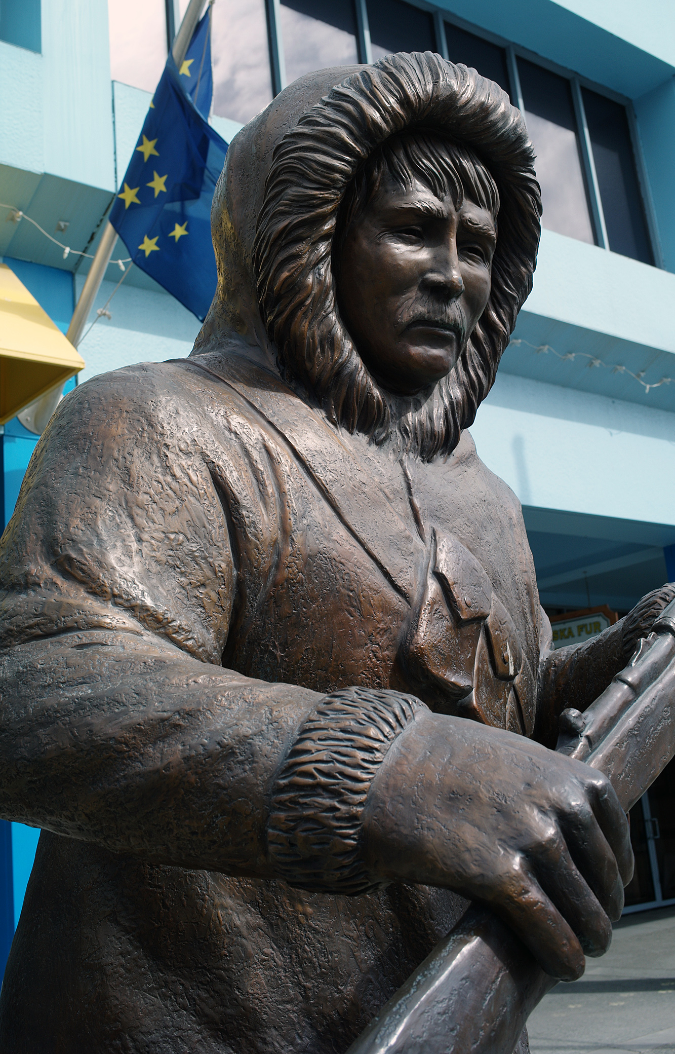 Alaska Native Hunter Statue on Fourth Avenue