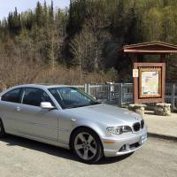My Bimmer at entrance to Hatcher Pass by bensonga in bensonga